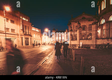 October 26, 2017, Oxford, United Kingdom: People walking, shopping around city of Oxford - Stock Photo