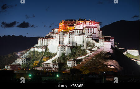 Night view of Potala Palace in Lhasa,Tibet - Stock Photo