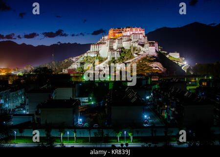 Night view of Potala Palace in Lhasa,Tibet - Stock Photo