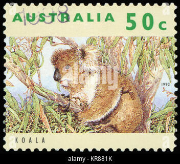 AUSTRALIA - CIRCA 1992: A used postage stamp from Australia, depicting an image of a Koala, circa 1992. - Stock Photo