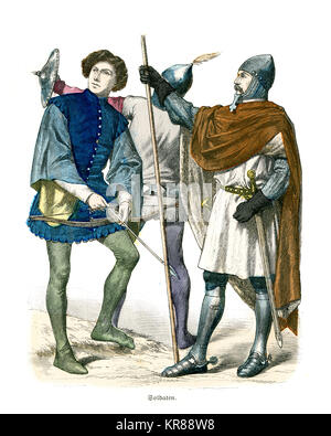 Vintage engraving of Soilders of of Medieval Italy, 14th Century. Knight in armour, archer and soldier with a Buckler - Stock Photo