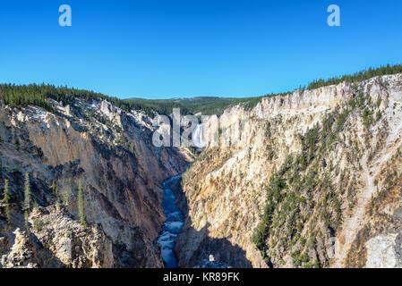 Lower Yellowstone Falls Wide Angle View - Stock Photo