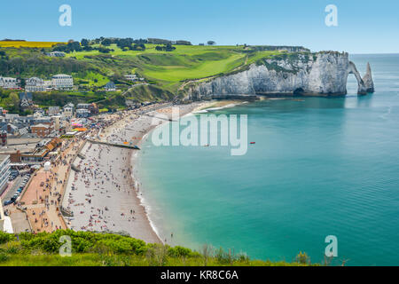 Scenic panoramic sight in Etretat, Normandy, France. - Stock Photo