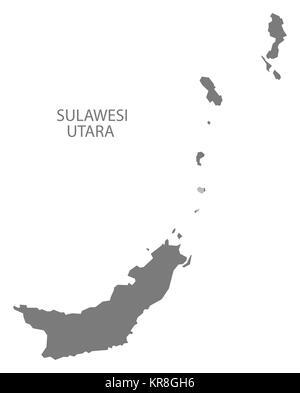 Sulawesi Utara Indonesia Map grey - Stock Photo