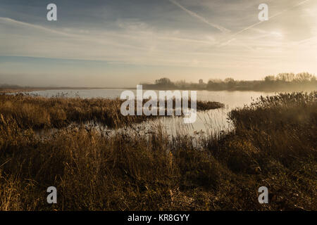 A misty December morning at the lake of Marton Mere nature reserve near the Lancashire seaside town of Blackpool, - Stock Photo