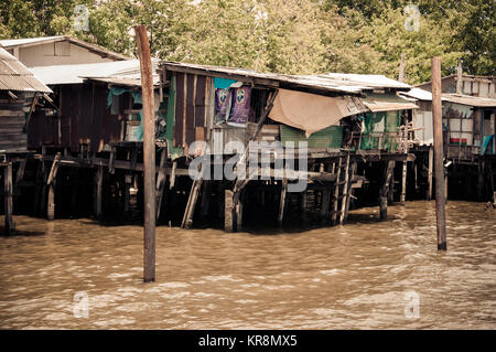 Poor wooden houses in Bangkok, Thailand - Stock Photo