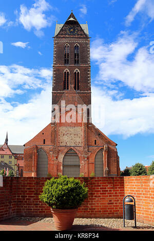 tower of st. mary's church in wismar - Stock Photo