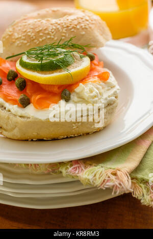 Nova Scotia salmon also called Nova lox - Stock Photo