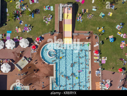 Liegewisen, leisure adventure Embricana, swimming pool, water slide, beach umbrellas, bathing, recreation, swimming, - Stock Photo