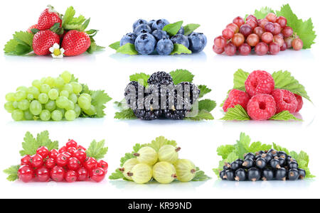 collection berries strawberries fresh grape grapes blueberries raspberries fruits - Stock Photo