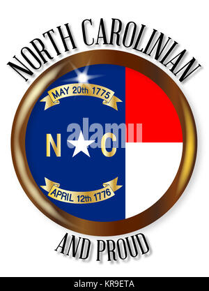 North Carolina Proud Flag Button Stock Vector Art Illustration
