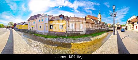 Town of Samobor riverfront panoramic view - Stock Photo