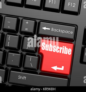 Red enter button on computer keyboard, Subscribe word - Stock Photo