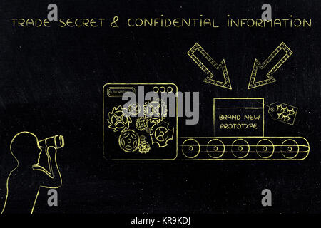confidential prototype & man spying on it, concept of trade secrets - Stock Photo