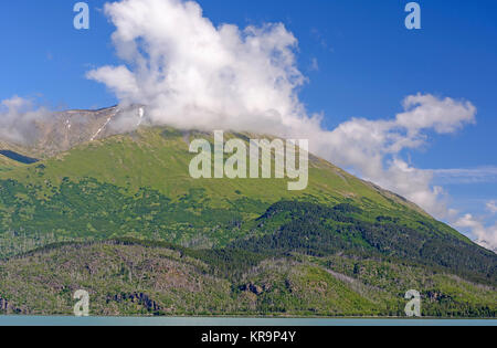 Mountains Clouds on a Sunny Morning - Stock Photo