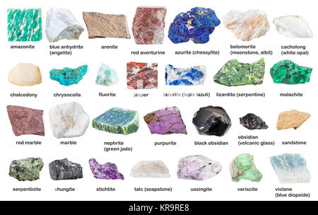 collection from gemstones and minerals with names - Stock Photo