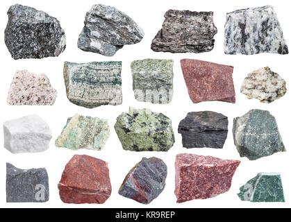 collection of metamorphic rock specimens - Stock Photo