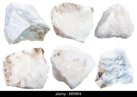 collection from specimens of anhydrite stone - Stock Photo