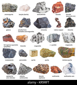 collection from raw minerals and ores with names - Stock Photo