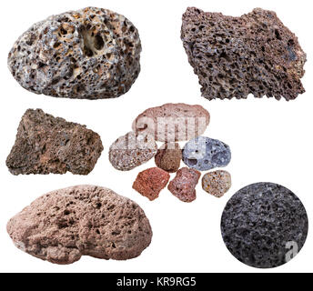 collection from specimens of various pumice stones - Stock Photo