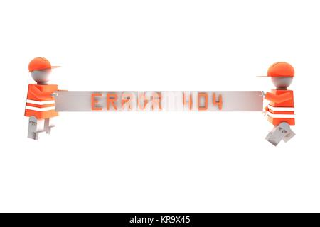 Workers holding a banner with words error 404 - Stock Photo