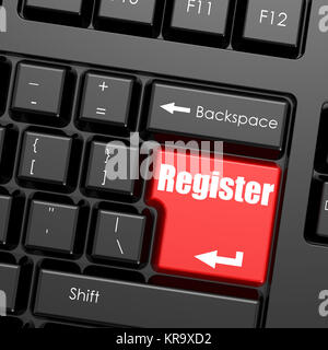 Red enter button on computer keyboard, register word - Stock Photo