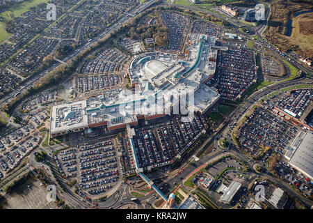 An aerial view of the Trafford Centre, and out of town shopping centre in Manchester - Stock Photo