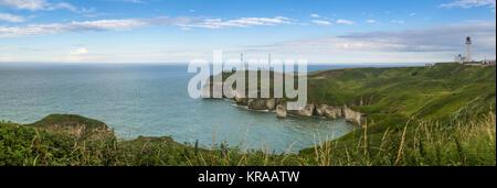 Panoramic View of Flamborough Head, North Yorkshire - Stock Photo
