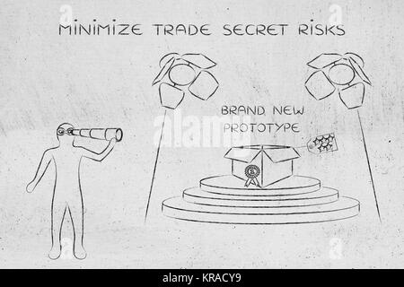 prototype & man spying on it, concept of trade secrets - Stock Photo