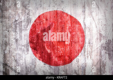 Grunge style of Japan flag on a brick wall for background - Stock Photo