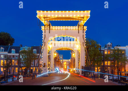 Magere Brug, Skinny bridge, Amsterdam, Netherlands - Stock Photo