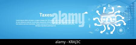Taxes Payment Concept Horizontal Web Banner With Copy Space - Stock Photo