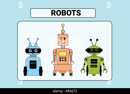 Set Of Cute Robots Cartoon Robotic Character Vintage Icon - Stock Photo