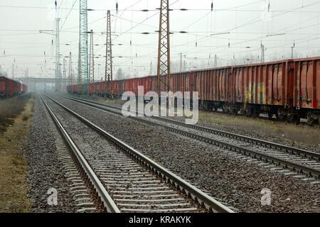 Railway Tracks and Wagons - Stock Photo