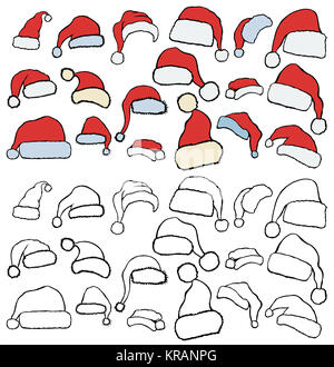 Christmas Hats Set. Hand drawn christmas illustration, isolated on white - Stock Photo