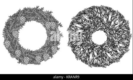 Christmas wreath.  hand drawn illustration with fir tree branches. Engraved traditional xmas decoration element. - Stock Photo