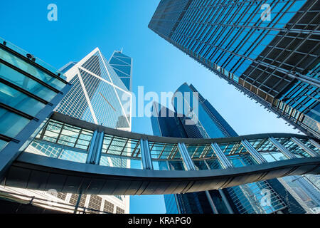 Hong Kong Corporate Buildings with perspective - Stock Photo