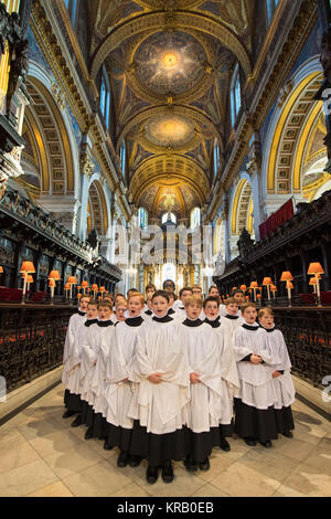 Choristers in St Paul's Cathedral in London rehearse before their busiest weeks of the year. - Stock Photo