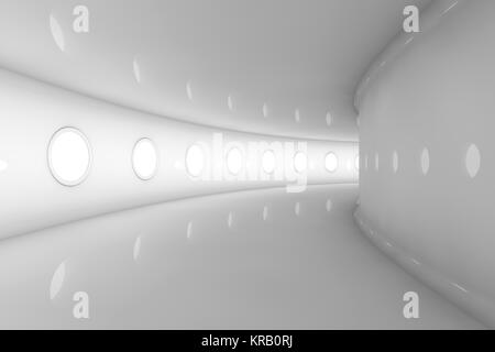 3D rendered Illustration of a empty futuristic spaceship or space station floor. - Stock Photo