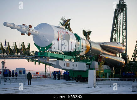 The Soyuz TMA-03M spacecraft is seen shortly after arriving at the launch pad Monday, Dec. 19, 2011 at the Baikonur - Stock Photo