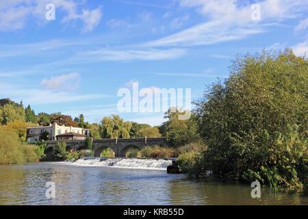 Batheaston Toll Bridge over River Avon, Batheaston, Bath - Stock Photo