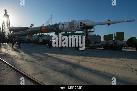 The Soyuz rocket arrives at its launch pad by train on Tuesday, March 26, 2013, at the Baikonur Cosmodrome in Kazakhstan. - Stock Photo