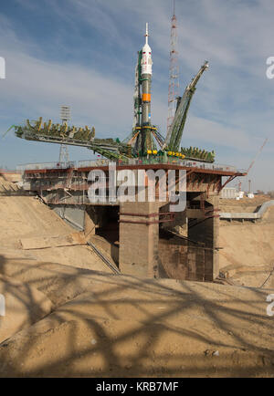 The Soyuz rocket is seen on its launch pad shortly after being lifted into its upright position on Tuesday March - Stock Photo