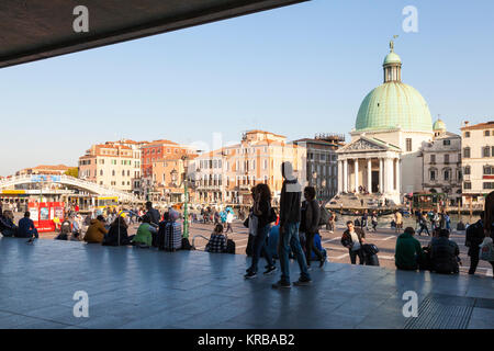 Tourists first view of Venice, Italy as they arrive by train  from the doors of Santa Lucia Railway Station looking - Stock Photo