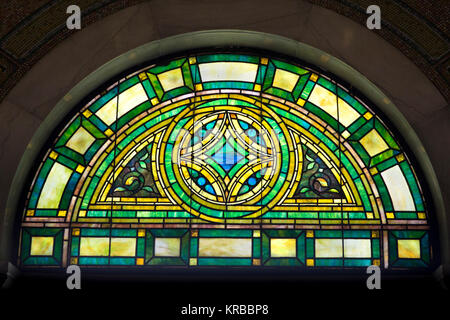 Stain glass window transom light in the historic 1908 Lakewood Memorial Chapel in Minneapolis, Minnesota,  The chapel - Stock Photo