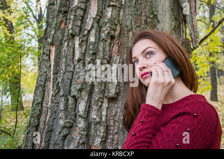 Cute woman in autumn in the park talking on the phone. Woman is standing near the tree - Stock Photo