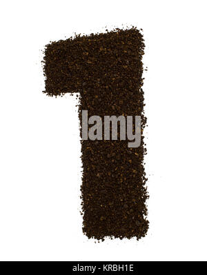 Number 1 one made of ground coarse coffee isolated on white. Flat lay, top view - Stock Photo