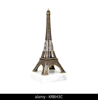Paris Eiffel tower souvenir on the stand isolated on white background - Stock Photo