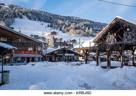 Station de Ski Les Gets, Haute-Savoie, Le village *** Les Gets ski resort, Haute-Savoie - Stock Photo