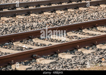 Rails of steel for transport and traveling - Stock Photo
